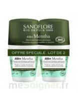 Sanoflore Déodorant 48h Mentha 2roll-on/50ml à Bordeaux